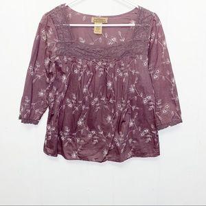 Art And Soul Purple Boho Floral Cotton Blouse